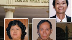 Ba thành viên Đảng Việt Tân trong số những người bị xét xử ở Bến Tre (ảnh của Việt Tân)