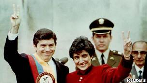 César Gaviria al asumir la presidencia de Colombia