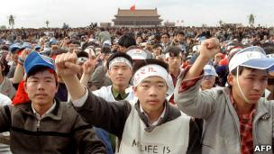 北京天安门广场上的抗议学生(18/5/1989)