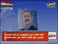 Pronunciamento de Saleh após ataque.