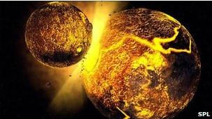 Imagen artística de la formación de un planeta