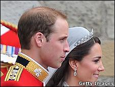 O príncipe William e Kate Middleton, durante seu casamento