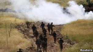 Tropas israelíes en los Altos del Golán