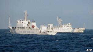 中国海监船2011年5月26日在距离越南中部海岸线120海里处巡洋