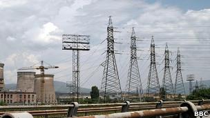 Torres de alta tensión en Bulgaria