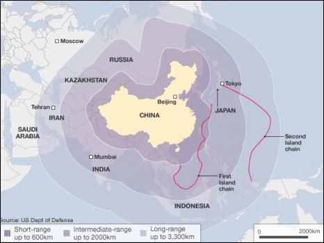 Tầm che phủ của các hỏa tiễn Trung Quốc