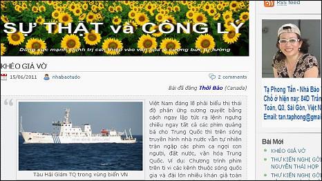 Trang web của bà Tạ Phong Tần