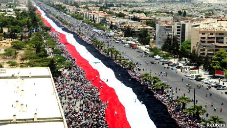 مظاهرة مؤيدة للنظام السوري في العاصمة دمشق