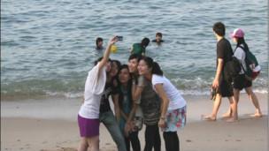 长洲岛的香港游客