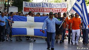 Protesta de trabajadores de astilleros de Atenas.