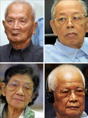 被告的红色高棉领导人农谢(左上)、英萨利(右上)、英蒂利(左下)和乔森潘(右下)