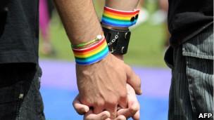 Casal gay se dá as mãos durante manifestação em Brasília. Foto: AFP