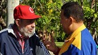Hugo Chavez y Fidel Castro en la televisión