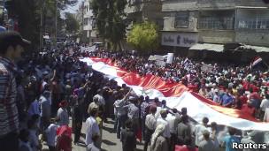 مظاهرات في بلدة سقبة السورية