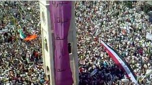 جانب من المظاهرات التي شهدتها حماة