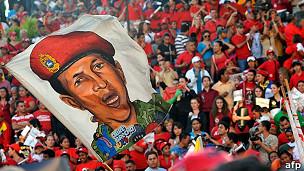 Manifestación de seguidores del presidente Hugo Chávez