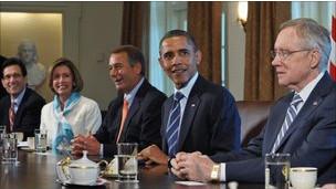أوباما خلال جلسة المباحثات (الخميس 7 يوليو)