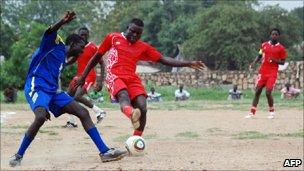 Equipo nacional de Sudán del Sur en sesión de práctica