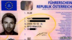 Водительские права Нико Альма