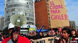 Protesta de trabajadores del cobre en Chile