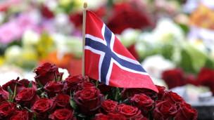 bandera de noruega y flores