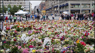 挪威悼念死者的鲜花