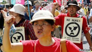 日本广岛反核示威者(06/08/2011)