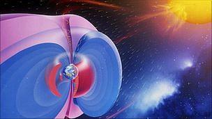 antiprotones en órbita terrestre, en área de color rojo