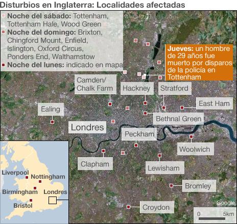 Mapa de los disturbios en Londres