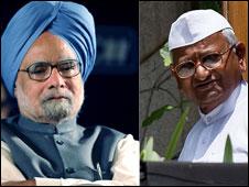 manmohan singh na anna hazare