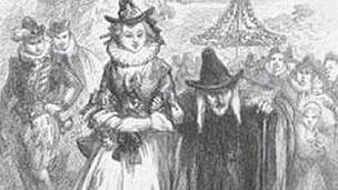 Ilustración del juicio de las brujas de Pendle
