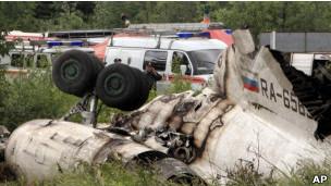 Обломки Ту-134, разбившегося под Петрозаводском
