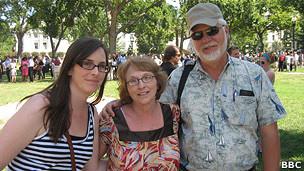 Turistas de Minnesota Sarah Guse y Warren y Backy MIndellad.