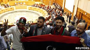 Ливийские повстанцы на конференции Лиги арабских государств в Каире