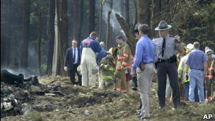 Bombeiros e equipes de resgate em Shanksville, Pensilvânia.