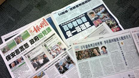 香港报章报道各界对警方处理李克强访问手法的质疑(29/8/2011)