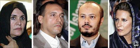 卡扎菲的妻子索菲亚,儿子汉尼拔,默罕默德和女儿艾沙。