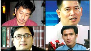 Các ông Trần Huỳnh Duy Thức, Lê Thăng Long (hàng trên, trái sang), Lê Công Định, Nguyễn Tiến Trung (dưới, trái sang)