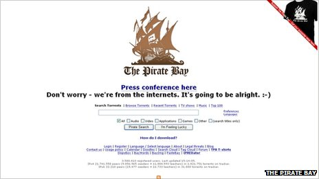 Captura del sitio The Pirate Bay