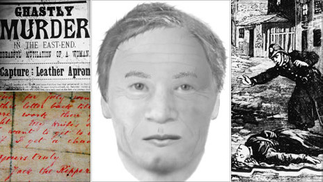 En sentido de las manecillas del reloj, desde la esquina superior izquierda: Reporte de periódico sobre un asesinato del Destripador, nueva reconstrucción virtual del sospechoso Carl Feigenbaum, dibujo de un policia ante el cuerpo de una víctima, y una carta a la policía firmada por Jack the Ripper.