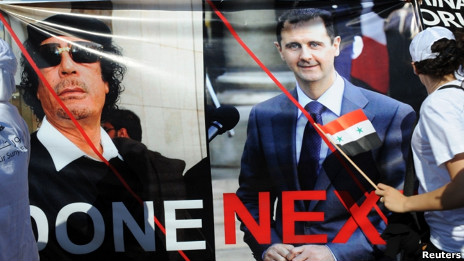Cartel de Al Assad y Gadafi