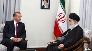 علی خامنه ای و اردوغان، نخست وزیر ترکیه