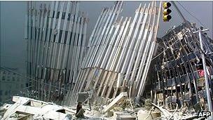 倒塌的世界贸易中心大厦
