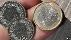 Francos suizos y euros
