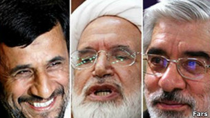 موسوی، کروبی و احمدی نژاد