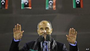 利比亚全国过渡委员会负责人贾利勒在首都的黎波里首次发表公开讲话(12/09/2011)