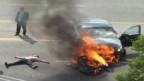 إنقاذ سائق دراجة من الموت