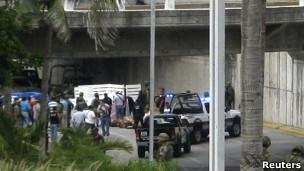 Escena del crimen en Boca del Río, Veracruz