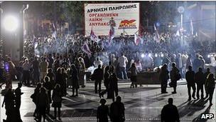 Manifestantes na Grécia (AFP)
