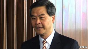 原香港行政會議召集人梁振英(香港電台圖片3/10/2011)